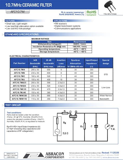 10 7 Mhz Ceramic Filter - data sheet 10 7 mhz ceramic filter
