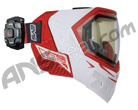 empire evs paintball mask w/ recon hud white/red