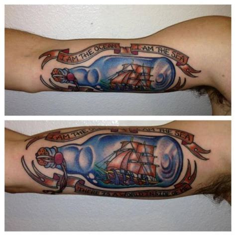 new school bottle tattoo arm new school galleon bottle tattoo by power tattoo company