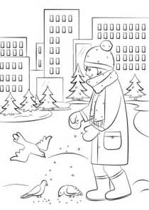 feeding ducks coloring page feeding birds in winter coloring page free printable