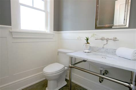 white wainscoting bathroom marble top bathroom vanity transitional bathroom
