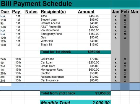 payment schedule excel template excel monthly bill payment template other template