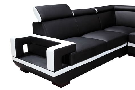 divani leather sofa divani casa 5102 modern black white bonded leather