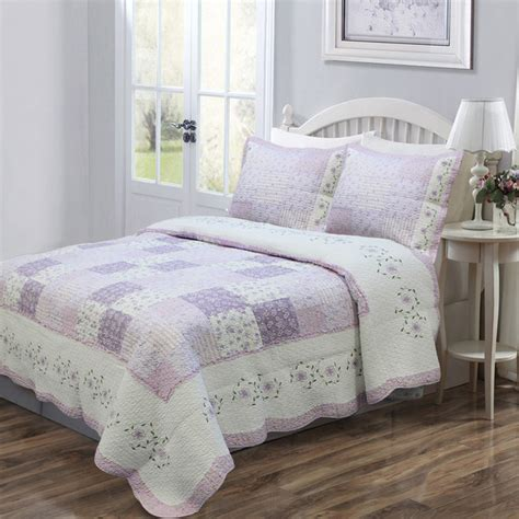 Lace Tv Cover 32 Shabby Chic of lilac 3 quilt set and optional sham