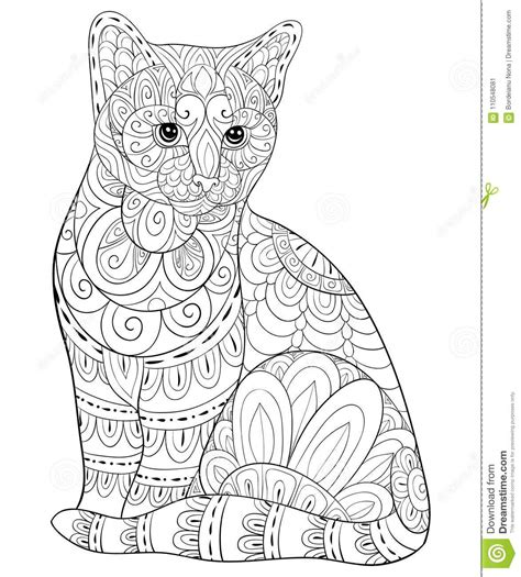 adult coloring bookpage  cute isolated cat  relaxing