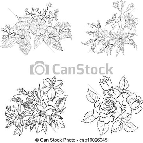 eps vector of cultivated flowers outline set set of
