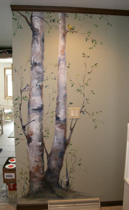 how to paint a wall mural in a bedroom birch trees