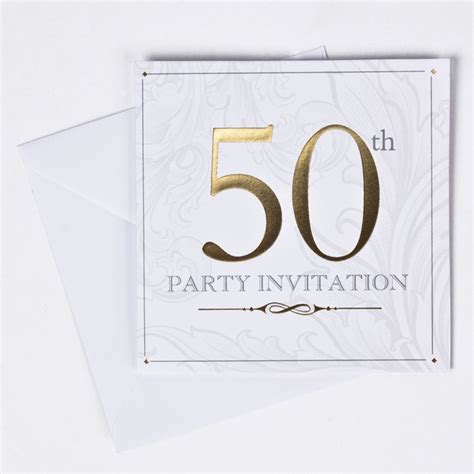 card factory golden wedding invitations gold foil age 50 birthday invitations pack of 10