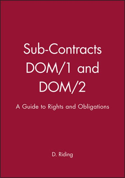 understanding design and build contracts wiley sub contracts dom 1 and dom 2 a guide to rights