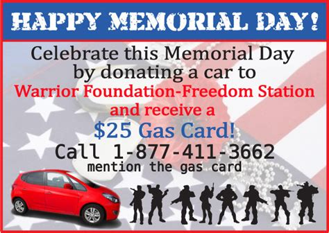 Gas Station E Gift Cards - get a 25 gas gift card when you donate your vehicle to the warrior foundation freedom
