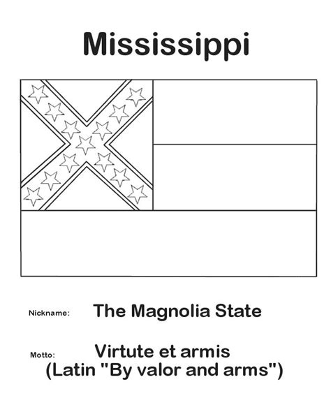 mississippi state flag coloring page mississippi