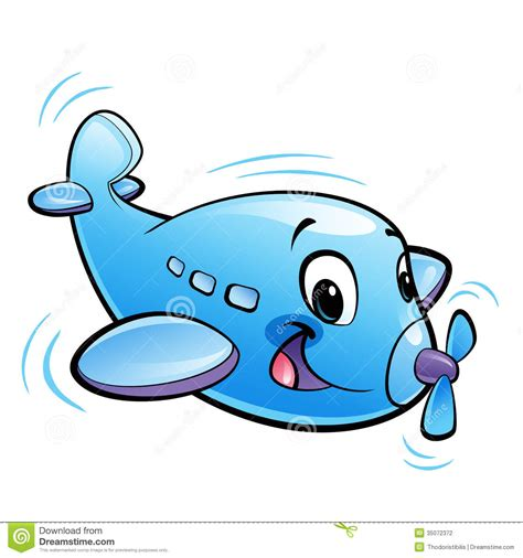 funny small baby cute cartoon blue airplane character with propeller