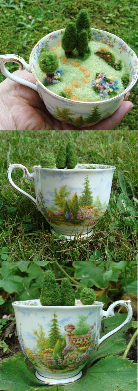 needle felted teacup pincushion miniature house green
