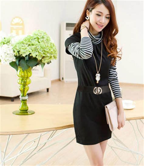 Dress Putih Lengan Panjang Polkadot Hitam Import Korea Fit To L dress wanita hitam putih lengan panjang model terbaru jual murah import kerja