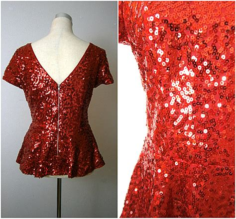 Blouse Squin Top 80s sequin peplum top peplum sequin blouse cherry