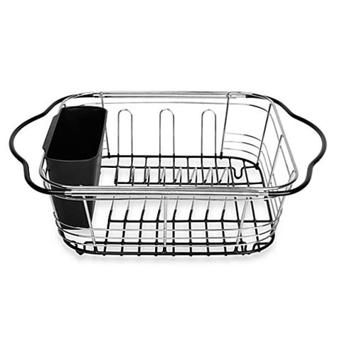 Kitchen Sink Dish Racks The Sink 3 In 1 Expandable Dish Rack With Integrated Handles Bed Bath Beyond