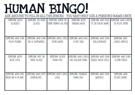 printable games for high school printable pdf human bingo game ice breaker by