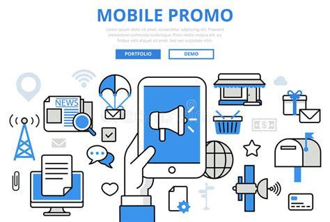 digital mobile marketing mobile promo digital marketing concept flat line
