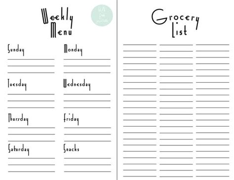 Free Weekly Meal Planner Template With Grocery List 28 Free Printable Grocery List Templates Kitty Baby Love