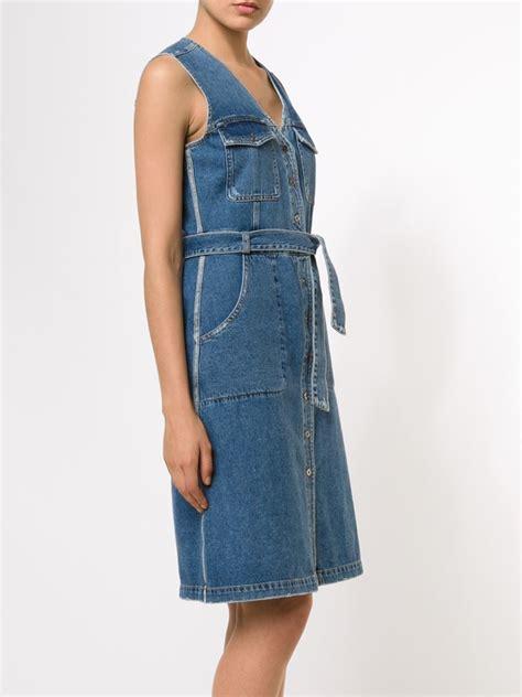 sleeveless denim dress lyst sea sleeveless denim dress in blue