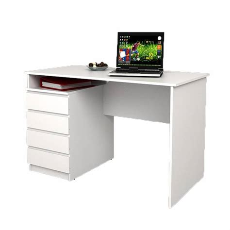 Desk 4 Drawers Mesinge 118x60x75cm White White Desk With Drawers