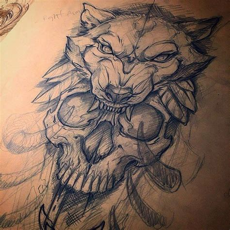 awesome wolf tattoo designs awesome skull and wolf sketch by mike tattoo who is