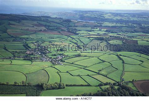 Modern Farm House countryside england aerial devon stock photos