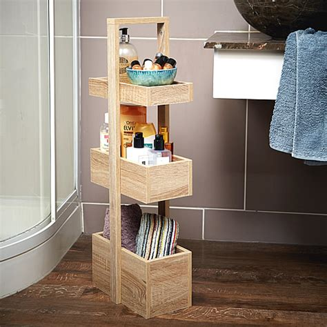 Tiered Bathroom Storage Store 3 Tier Bathroom Storage Caddy Wood Effect