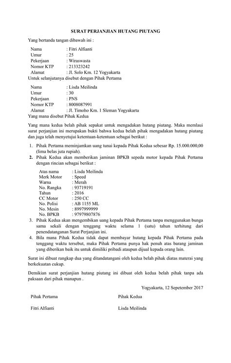 format surat kuasa utang download contoh surat perjanjian hutang yang baik dan benar
