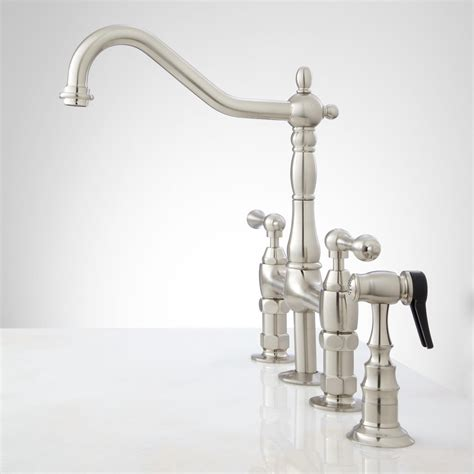 kitchen faucet bridge bellevue bridge kitchen faucet with brass sprayer lever