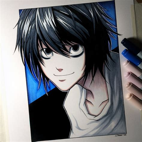L from Death Note - Drawing by LethalChris on DeviantArt L Death Note Drawing