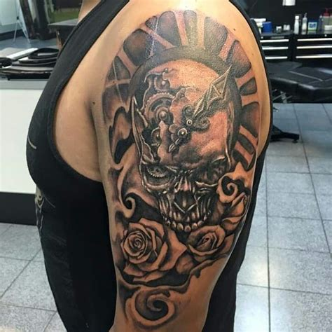 skull roses clock shoulder tattoo tattoos by me