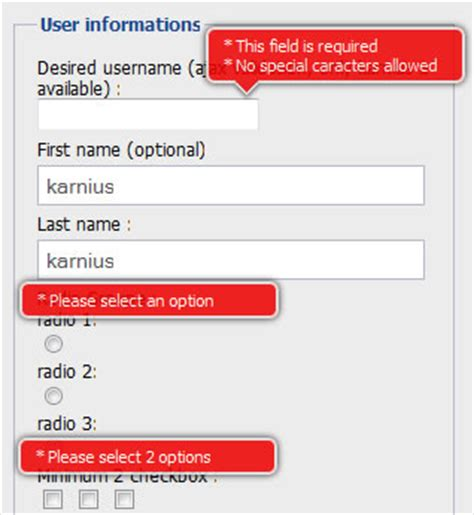 application form registration form template with jquery