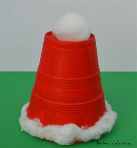 santa made from styrofoam cup easy styrofoam cup santa hat allfreekidscrafts