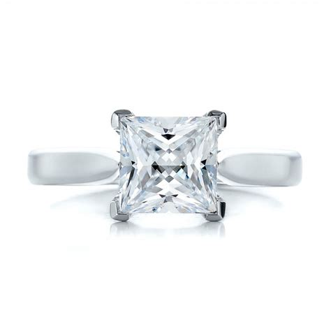 contemporary solitaire princess cut engagement