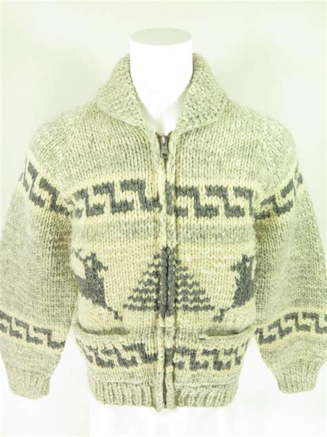 canadian zip code pattern vtg swan knit cowichan zip reindeer wool sweater xl the