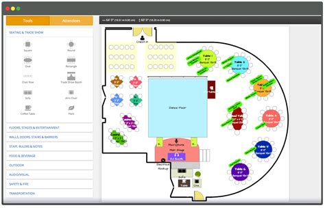 how to design software event table planner software layout design