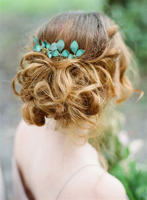 Hair Pieces Green rustic hair green leaf comb bridal headpiece