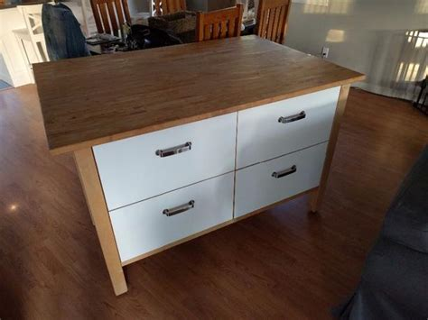 ikea kitchen island with drawers and maple top
