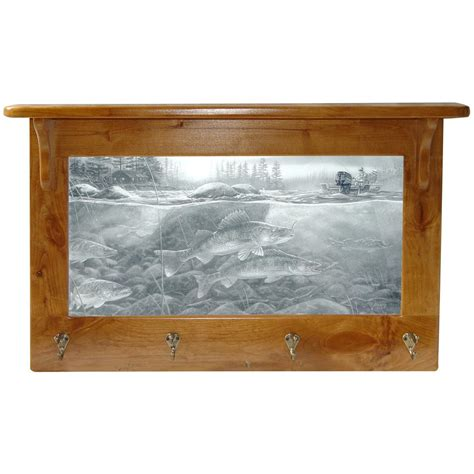 Mirror And Coat Rack by Island City Pictures Walleye On The Rocks Mirror And Coat