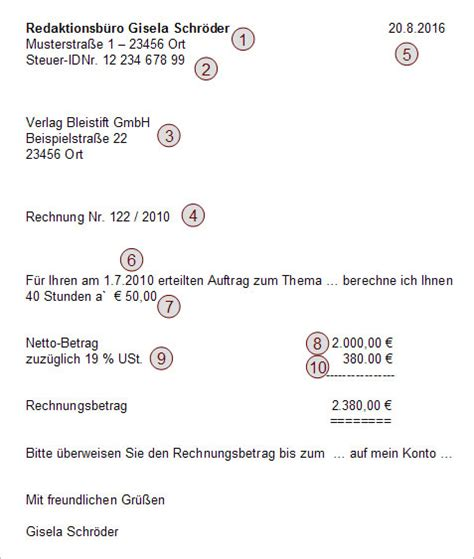 Musterrechnung Privatperson An Firma Die Freiberufler Rechnung Erfolg Als Freiberufler