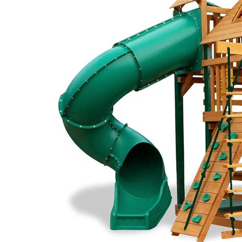 swing set with tube slide gorilla playsets radical ride tube slide for 7ft deck