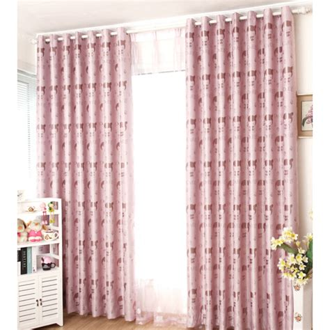 Pink Cotton Curtains Thick Poly Cotton Pink Pattern Room Insulated Curtains