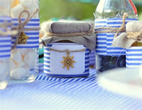 Blue And White Decorating Ideas table setting beach themed party blue white striped