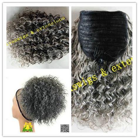 good pern for salt and pepper nappy hair 짧은 곱슬 회색 포니 테일 인간의 머리 여성 가발 아프리카 회색 가발 곱슬 머리 포니 테일 졸라 헤어