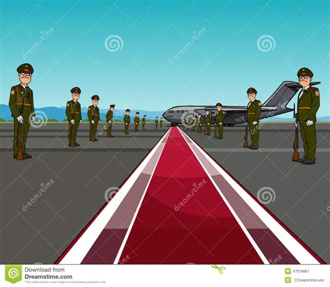 oppisite of red men in uniform standing on opposite sides of the red carpet about aircraft stock vector image