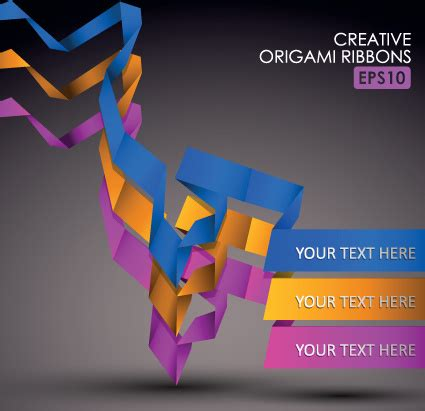 Origami Graphic Design - colorful origami ribbons design vector graphics free
