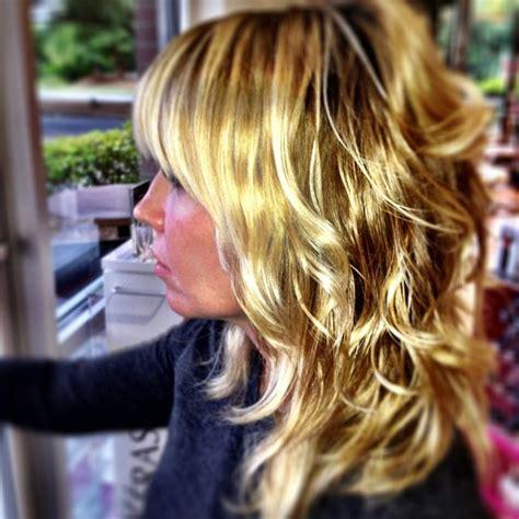 shag vs layers shag haircut bangs layers golden blonde balayage