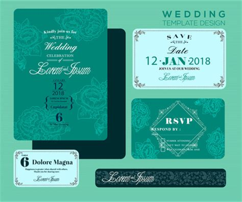 invitation card design green editable wedding invitations free vector download 3 705