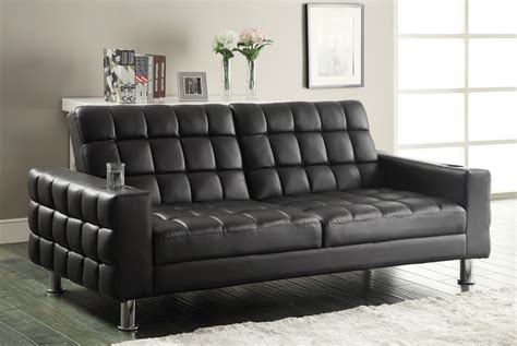 Dark Brown Leatherette Sofa Bed Futon Caravana Furniture Leatherette Sofa Bed